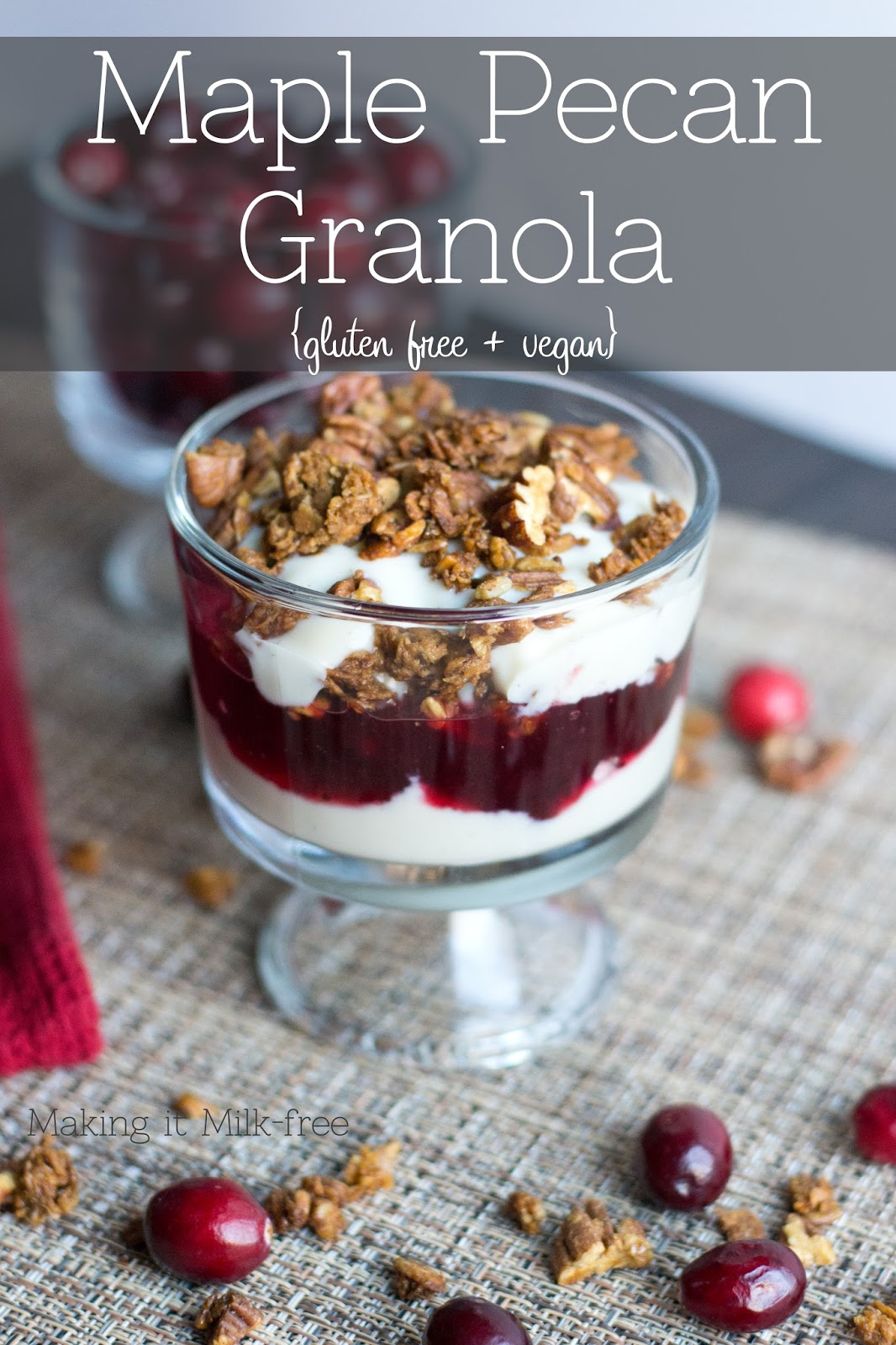 Crunchy, salty and slightly sweet granola with a hint of cinnamon and maple. Perfect for layering with your favorite dairy-free yogurt for a breakfast parfait.