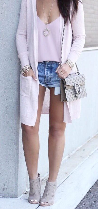 summer fashion outfit: cardigan + tee + denim shorts + heels + bag