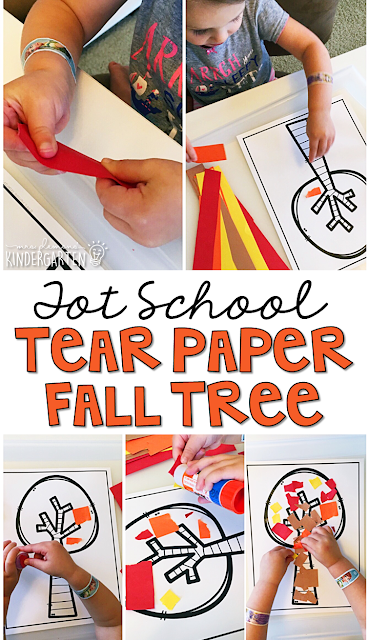 Tear paper fall tree is great for fine motor practice with a fall theme. Great for tot school, preschool, or even kindergarten!