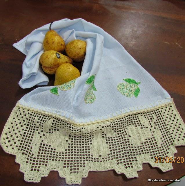 Pano de Prato, Barrado em Croche, Barrado  em Crochê com Frutas Pera, Crochê filê