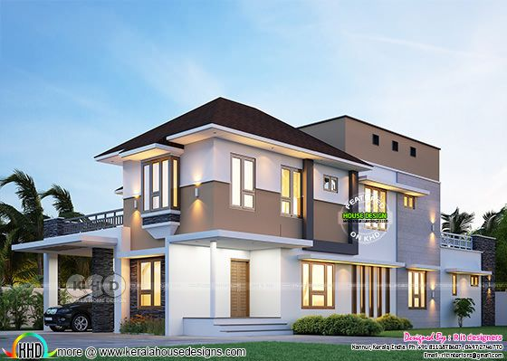 Modern sloping roof 4 bedroom double storied house