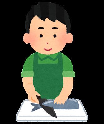 魚を切る人のイラスト(男性)