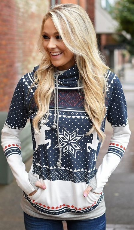 Women's Christmas Deer Print Sweatshirt