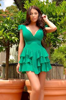 Rochie scurta verde cu volane