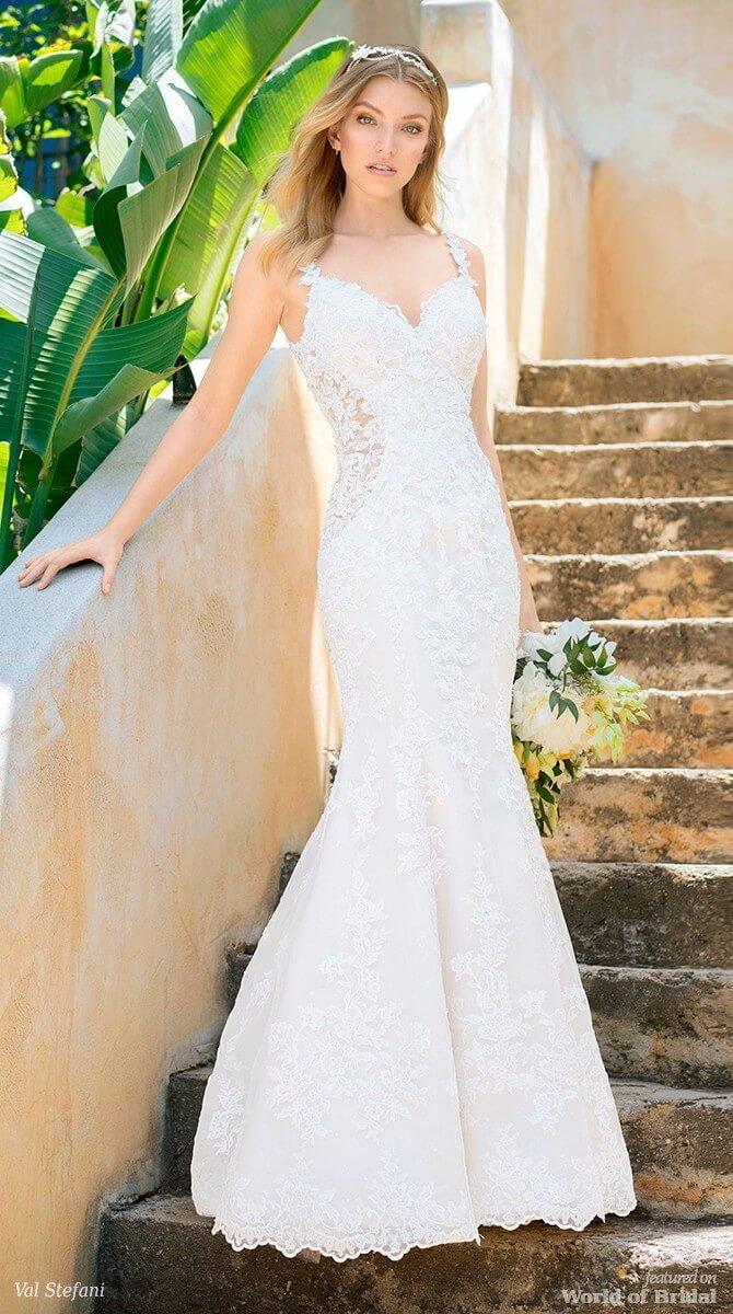 Val Stefani Spring 2018 Long Lace Train Mermaid Wedding Dress