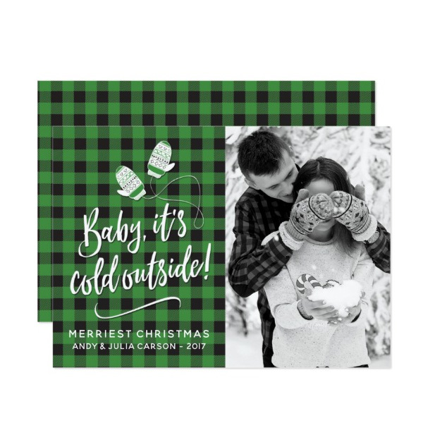 Baby It's Cold Outside Holiday Photo Cards by The Spotted Olive for Zazzle