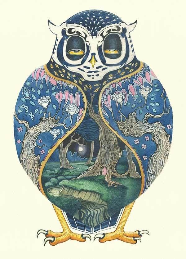 06-Owl-at-Night-Daniel-Mackie-Flora-and-Fauna-Watercolour-illustrations-www-designstack-co