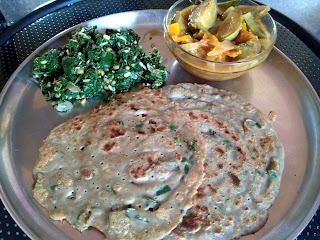 Pearl millet roti, Ponnaanganni greens poriyal, Brinjal curry