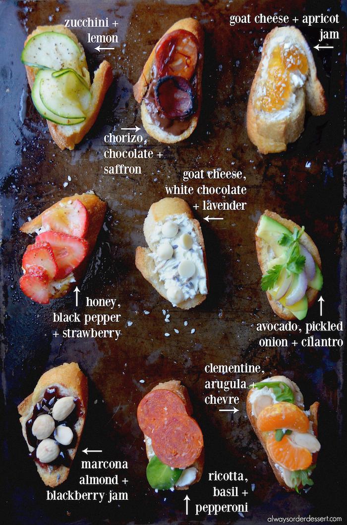 A diy crostini party always order dessert for Italian canape ideas