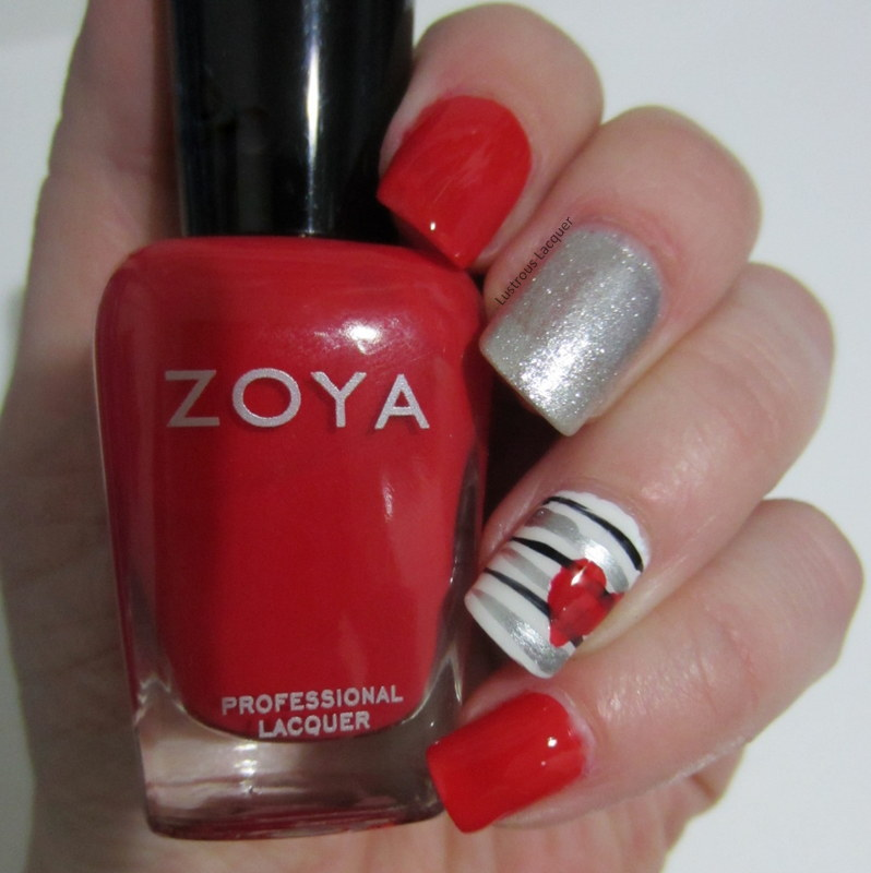 Valentine\'s Day Nail Art - Heart and stripes - <em>Lustrous Lacquer</em>