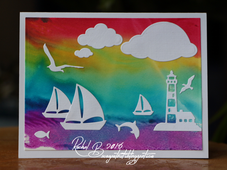 Scrapatout - Handmade card, Impression Obsession dies, Sea, Watercolors