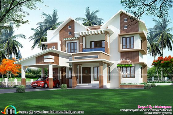 2876 sq-ft modern sloping roof home