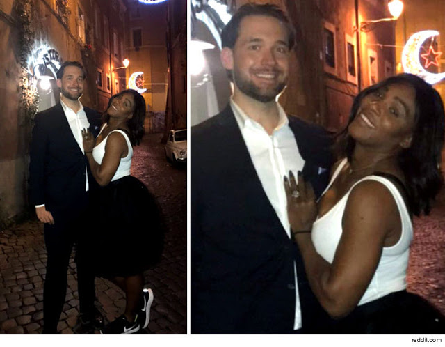 Serena Williams shows off her new massive diamond engagement ring
