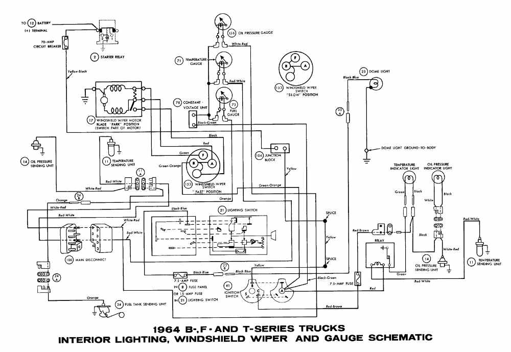 Ford+B +F +T Series+Trucks+1964+Interior+Lighting+Windshield+Wiper+and+Gauge+Wiring+Diagram 1964 ford fairlane wiring diagram ford ignition system wiring Ford Truck Wiring Diagrams at aneh.co