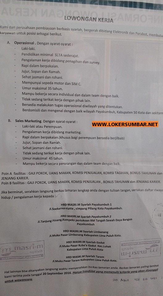 Lowongan Kerja di Payakumbuh – Perusahaan Pembiayaan Syariah – 2 Posisi (Penutupan 20 Sept.2016)