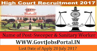 High Court of Madras Recruitment 2017– 127 Sweeper & Sanitary Worker