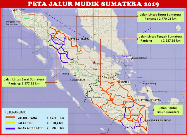 image: Peta Jalur Mudik Sumatera