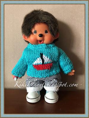 kiki monchhichi poupée doll pull tricot knitting handmade fait main vêtement clothes