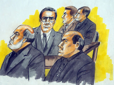 Defendants in the Family Secrets trial at a hearing