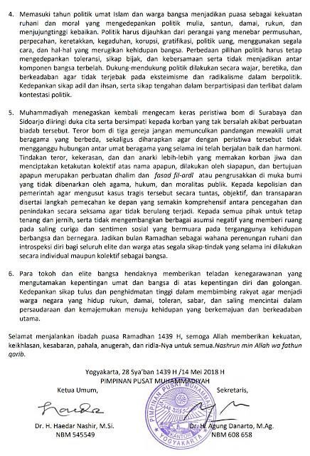 Lanjutan siaran pers PP Muhammadiyah tentang Ramadhan 1439H / 2018M