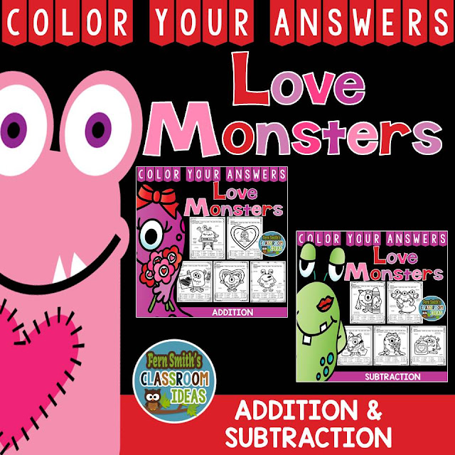Valentine's Day Fun! Valentine's Day Love Monsters Addition and Subtraction Facts - Color Your Answers Printables for St. Valentine's Day Addition and Subtraction