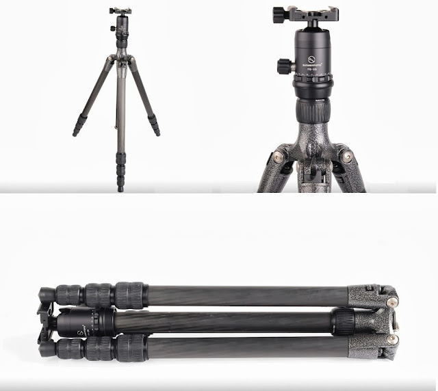 Sunwayfoto FB-28i ball head on Gitzo GT1542 Traveler Tripod standing and folded