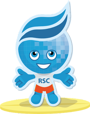 Rio mascot Splash riding a surf board