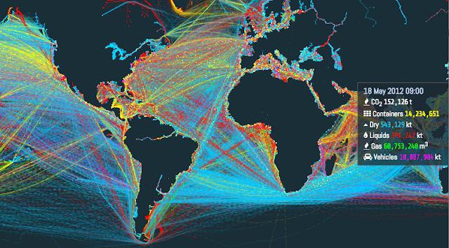 Esta é uma visualização incrível das rotas de navegação pelo mundo - MichellHilton.com
