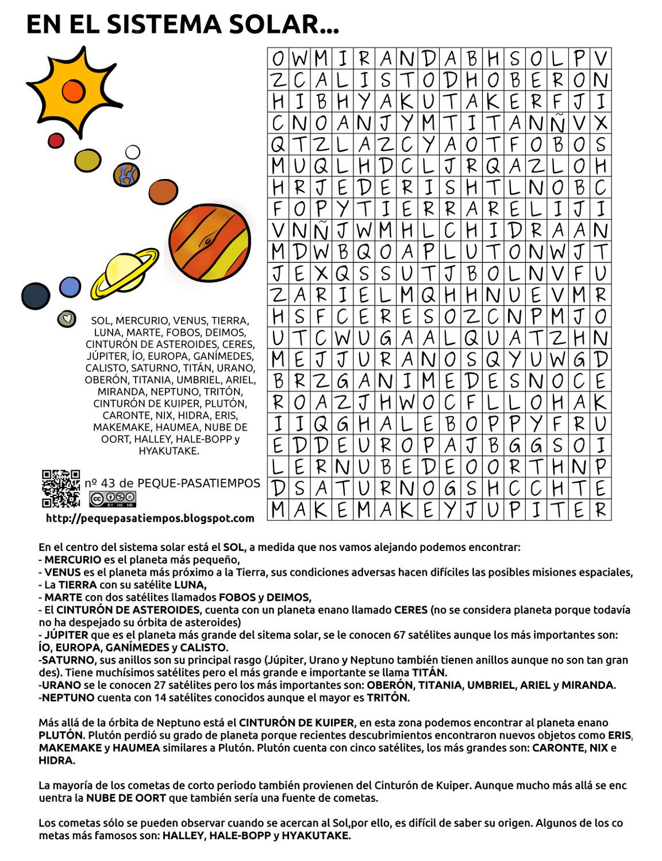 Peque-pasatiempos: En el sistema Solar... - PEQUE-PASATIEMPOS nº43