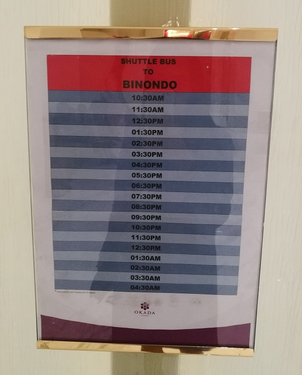 Free Shuttle Service Schedule from Okada Manila to Binondo