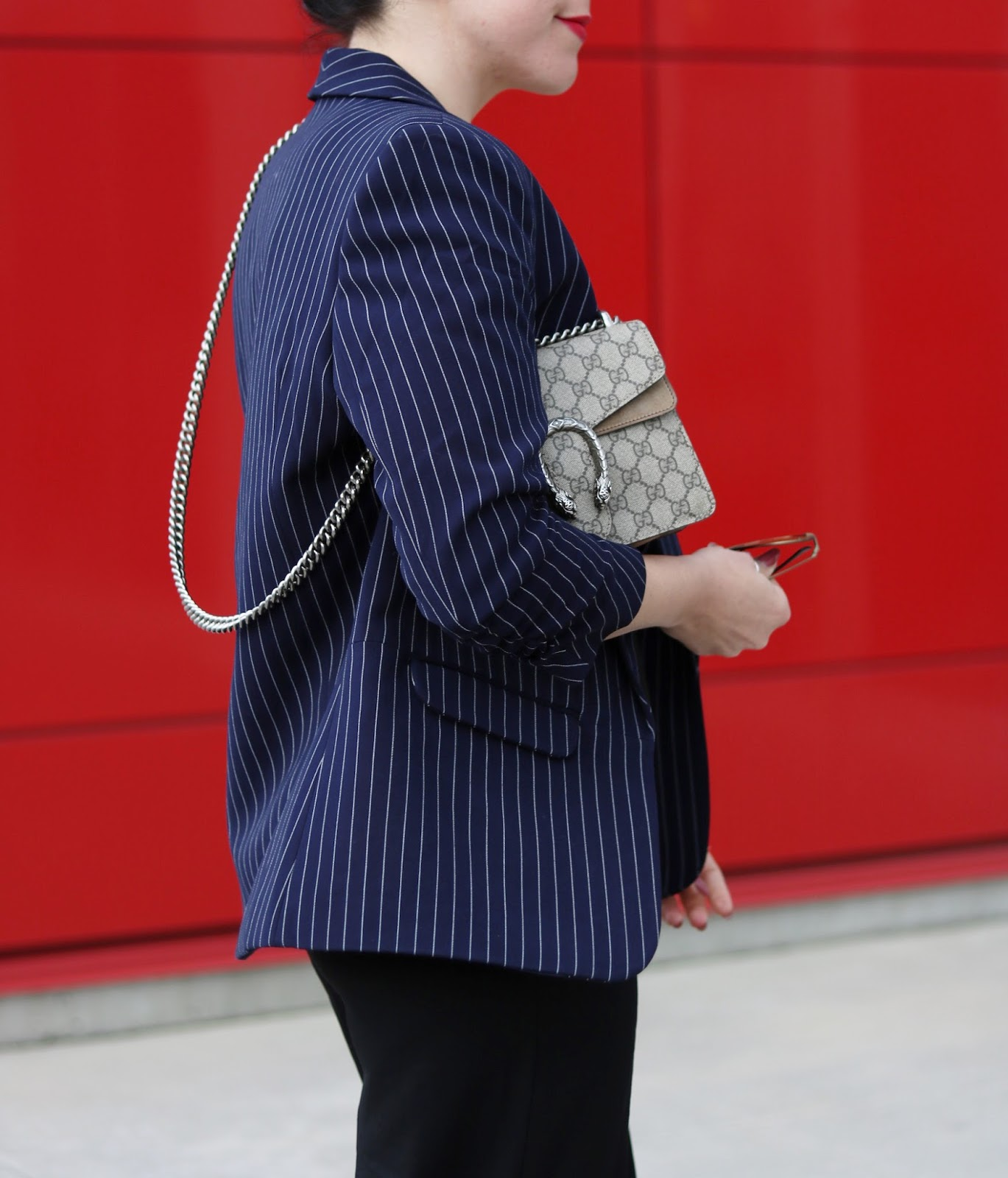 Pinstripe blazer outfit le chateau culottes aleesha harris gucci supreme mini gg