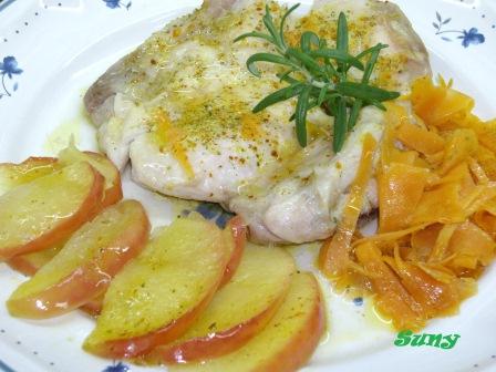 Pollo con manzana y zanahoria
