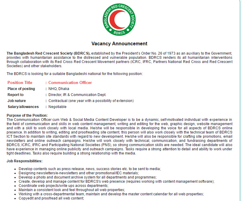 The Bangladesh Red Crescent Society Communication Officer Job