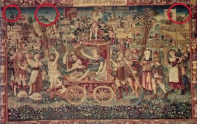 UFO in the background of a painting from ancient times.