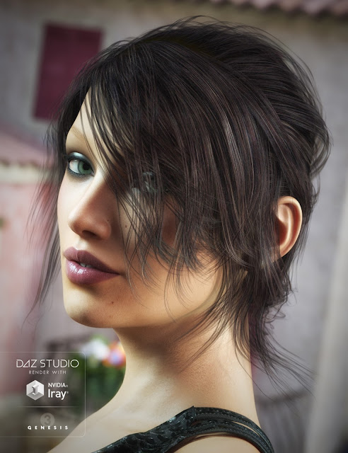 French Twist Hair for Genesis 3 Female