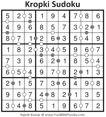 Answer of Kropki Sudoku Puzzle (Fun With Sudoku #323)