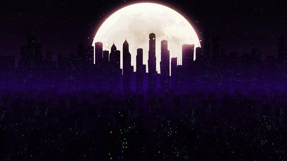 Night, City, Moon, Digital Art, 4K, #4.2014