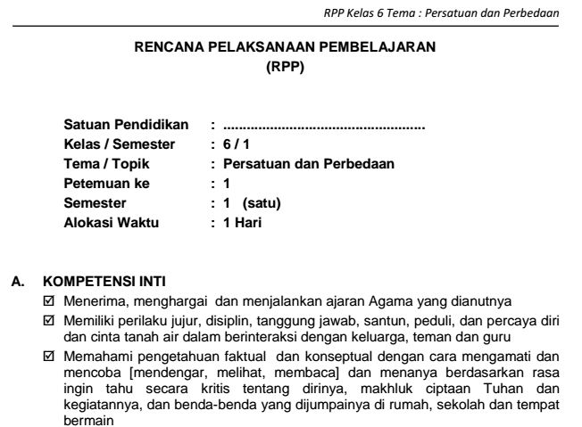 Download RPP SD Kelas VI Semester 1 Tema Persatuan dan Perbedaan Kurikulum 2013 Format PDF