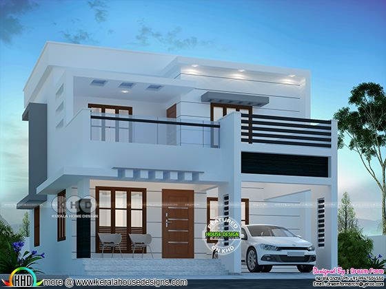 1650 square feet flat roof double storied 3 BHK house