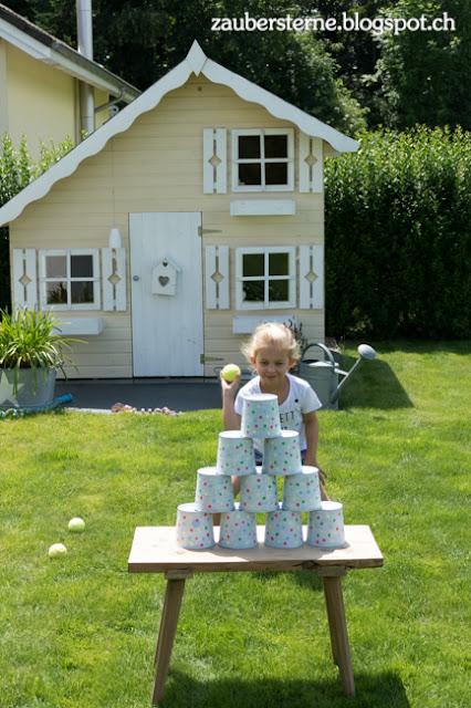 DIY Blog Schweiz, Büchsenwerfen, Kindergeburtstag, Konfettiparty, Spielhaus Tom