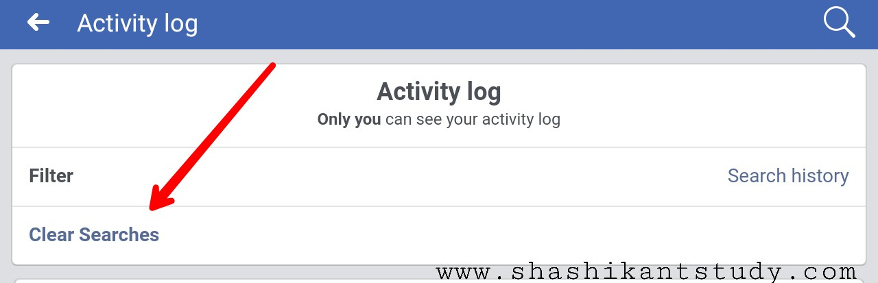 Facebook account se search history kaise delete kare