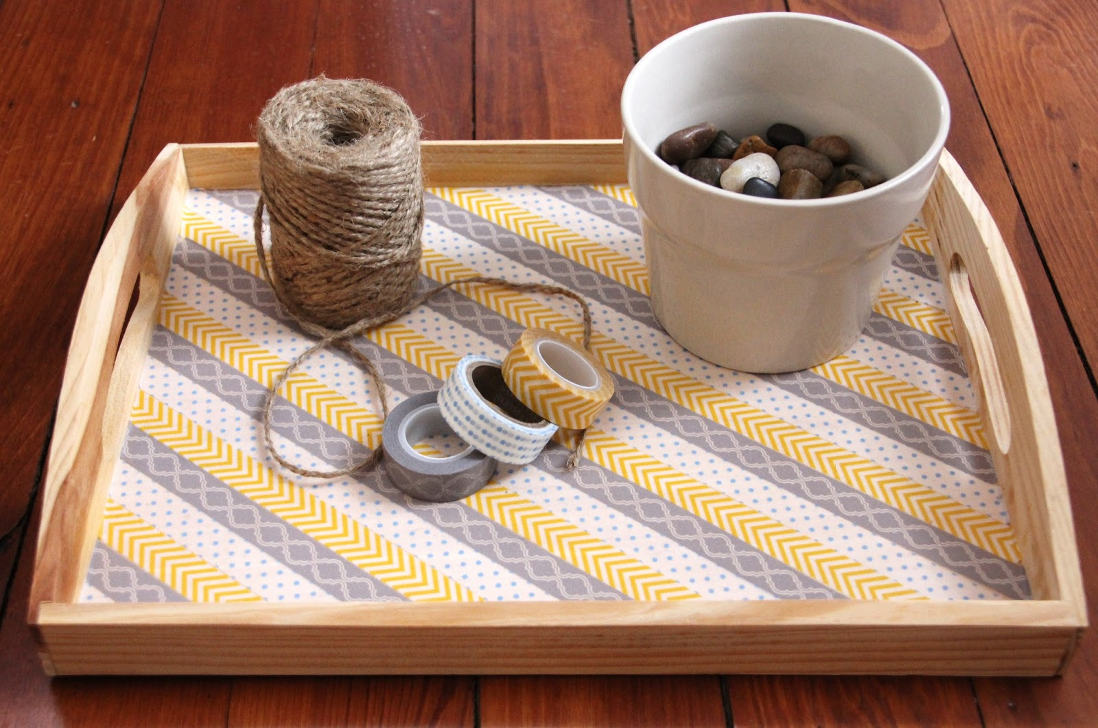 Serving Tray with White Pots | Washi Tape Ideas | Creative Ways To Use Washi Tape
