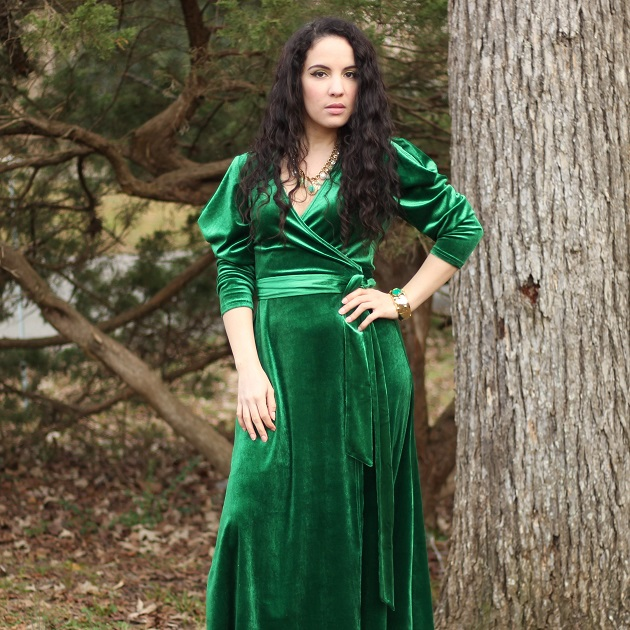 Green Velvet Wrap Dress