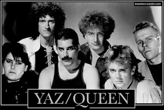 photo of the four classic members of Queen with Alison Moyet and Vince Clarke of the band Yaz, a.k.a. Yazoo, 'Photoshopped' in on either side with stylized text reading 'Yaz/Queen'
