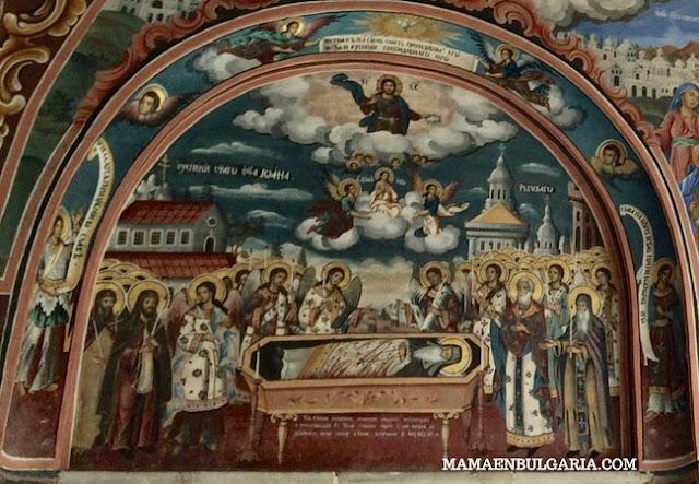 Dormición San Juan de Rila fresco monasterio Rila  Bulgaria