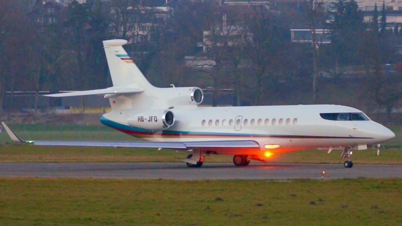 Dassault Falcon 7X Beautiful Twilight Take-Off at Bern