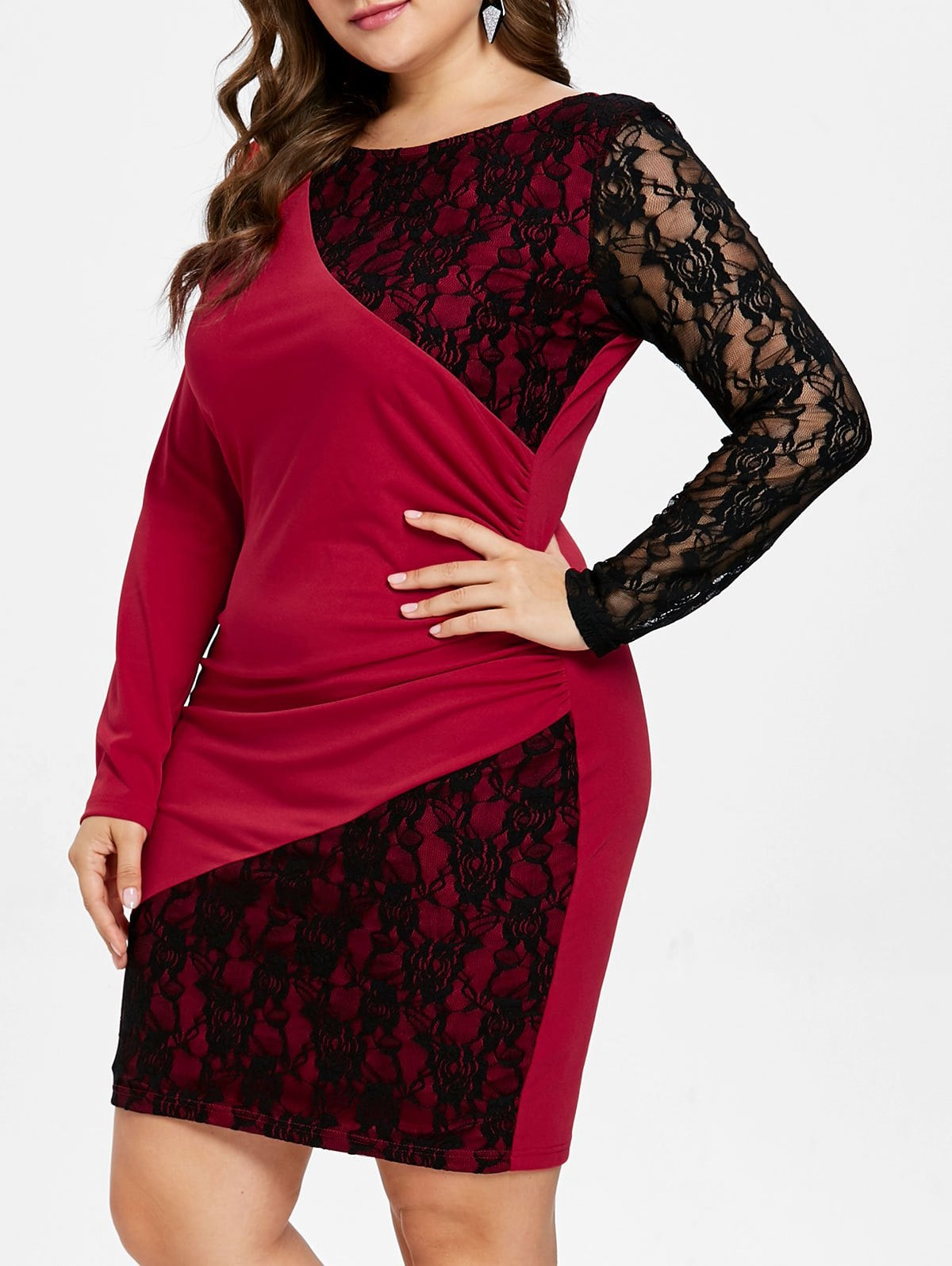 Long Sleeve Lace Panel Plus Size Knee Length Dress