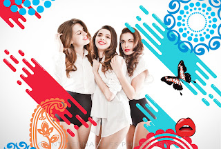 Group Shot, Trio, Graphic artistic collaboration, White shirts, Womens Wear, Rajesh Pratap Singh