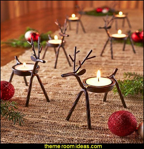 Reindeer Tealight Candle Holders Rustic Christmas decorating ideas - rustic Christmas decorations - Vintage - Rustic - Country style Christmas decorating - rustic Christmas decor - Christmas stockings