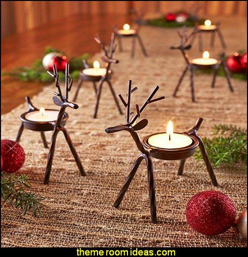 Reindeer Tealight Candle Holders Rustic Christmas decorating ideas - rustic Christmas decorations - Vintage - Rustic - Country style Christmas decorating - rustic Christmas decor - Christmas stockings